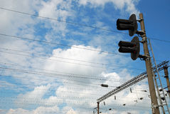 Electric infrastructure of the railway Stock Images