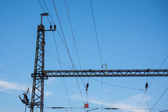 Electric infrastructure of the railway, Eastern Europe Royalty Free Stock Image