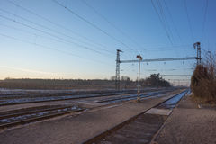 Electric infrastructure of the railway Stock Photos