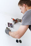 Electric installation in the box Stock Photos