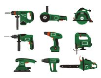 Electric instrument icons. Electric instrument for handwork in green and black colour Royalty Free Stock Images