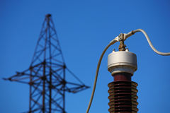 Electric insulator on the blue sky background Stock Images