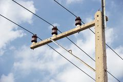 Electric insulator and electricity post Stock Photo
