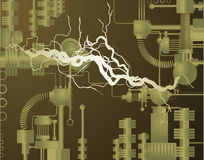 Electric Invention. A complex invention with electricity running through it Stock Photo