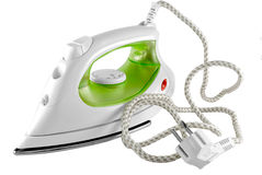 Electric iron. The electric iron stands on a white background Royalty Free Stock Photo