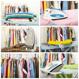 Electric iron and shirt. collage Royalty Free Stock Photography