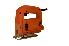Electric jigsaw. An isolated electric jigsaw cutting tool royalty free stock photography