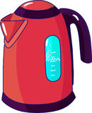 Electric kettle. Domestic electric appliance. Red electric kettle with boiling water Royalty Free Stock Images