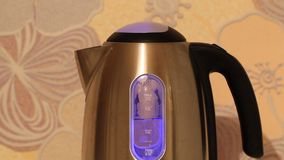 Electric kettle boiling water. The process of boiling water in an electric stainless steel kettle with a blue backlight. Close-up stock footage