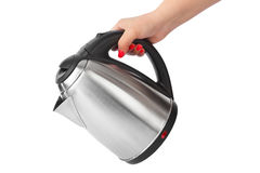 Electric kettle in hand Royalty Free Stock Photo