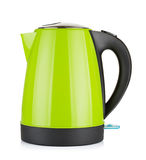 Electric Kettle. Modern green electric kettle, isolated on white Stock Photo