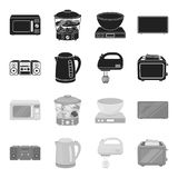 Electric kettle, music center, mixer, toaster.Household set collection icons in black,monochrome style vector symbol Royalty Free Stock Photo