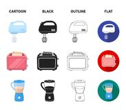 Electric kettle, music center, mixer, toaster.Household set collection icons in cartoon,black,outline,flat style vector Stock Image