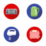 Electric kettle, music center, mixer, toaster.Household set collection icons in flat style vector symbol stock Royalty Free Stock Images
