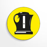 Electric kettle. Vector icon. Black-and-white object on a yellow background. Royalty Free Stock Photography