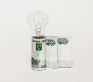 Electric lamp bulbs and banknotes are standing upright on a gray background Stock Photography