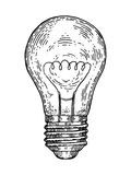 Electric lamp engraving style vector illustration Royalty Free Stock Images