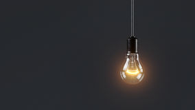 Electric lamp hanging on a wire in the room. Loneliness concept. 3d Royalty Free Stock Photos