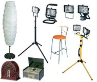 Electric lamps and retro radios Stock Images