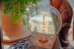 Electric light bulb. In cafe Royalty Free Stock Photo