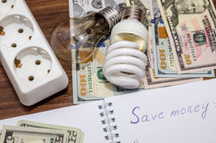 Electric light bulb with dollar bills, pen and calculator Royalty Free Stock Photography