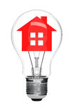 Electric Light Bulb and House inside Royalty Free Stock Photo