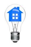 Electric Light Bulb and House inside Stock Photos
