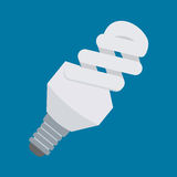 Electric light bulb vector icon in flat style design. Compact fluorescent lamp or CFL symbol. Energy-saving light tube. Royalty Free Stock Photography