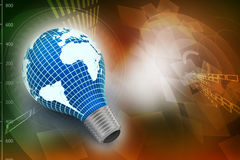 An electric light bulb with a world map Stock Images