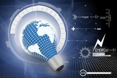 An electric light bulb with a world map Royalty Free Stock Images