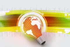 An electric light bulb with a world map Stock Photography