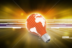 An electric light bulb with a world map Royalty Free Stock Image