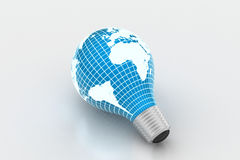 An electric light bulb with a world map. Technology concept Royalty Free Stock Photography