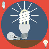 Electric light bulbs flat vector illustration Royalty Free Stock Image