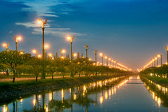 Electric Light In Canal Stock Photography
