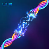 Electric lightning between colored cables Royalty Free Stock Photo