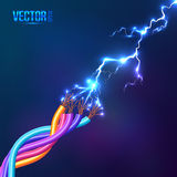 Electric lightning between colored cables Royalty Free Stock Images