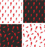 Electric Lightning Symbol Big & Small Aligned & Random Seamless Pattern Red Color Set Royalty Free Stock Photos