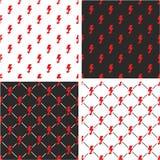 Electric Lightning Symbol Seamless Pattern Red Color Set Stock Image