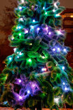 Electric lights on Christmas tree outdoors Stock Photography