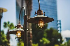 Electric lights in the city. Urbanica . Stock Images