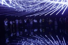 Electric lights. exhibition by teamLab in the Mori Digital Art Museum. Tokyo / Japan - Sept 12 2018: mori digital art museum, Odaiba. electric lights. Lighting royalty free stock photo