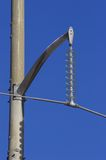 Electric Line. Electrical line and insulators Stock Photo