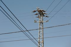 Electric line columns Royalty Free Stock Photo