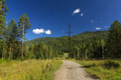 Electric line  in the mountain. In summer day Royalty Free Stock Images