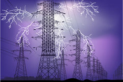 Electric line at night thunderstorm Royalty Free Stock Images