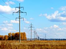 Electric line. The electric line passes through the autumn steppe Royalty Free Stock Photos