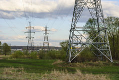 Electric line pylons. Landscape with electric line pylons royalty free stock image