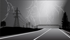 Electric line and road at thunderstorm Royalty Free Stock Photos