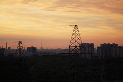 An electric line at sunset time Royalty Free Stock Photography